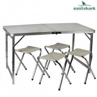 Набор алюминиевый стол + 4 стула 60*120 см